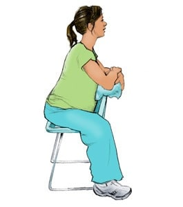 Posisi duduk ibu hamil : Duduk Membelakangi sandaran