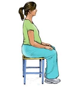 Posisi duduk ibu hamil : Duduk Tegak Lurus Dengan Punggung Sedikit Melengkung